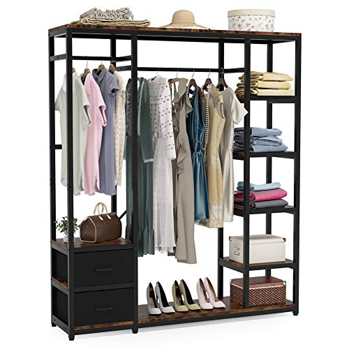 Tribesigns 59 inch Heavy Duty Clothes Garment Rack with 2 Drawers, Freestanding Wardrobe Closet Organizer with Double Hanger Rods and 5 Tier Storage Shelves for Bedroom Living Room, Rustic Brown