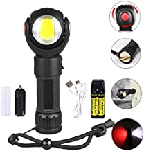 Garberiel LED Torch with Red and White Light - 360° Rotating Waterproof USB Light Rechargeable Flashlight and Battery (Magnet Base)