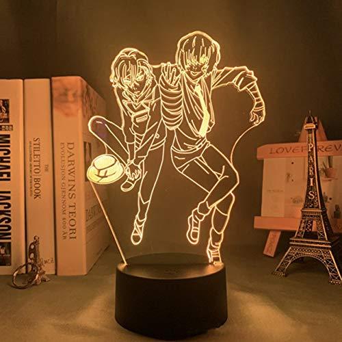 Anime Bungo Stray Dogs Luz de noche LED Dazai Chuuya Figuras, Lámpara 3D Decoración de dormitorio Amantes de anime Regalos de cumpleaños