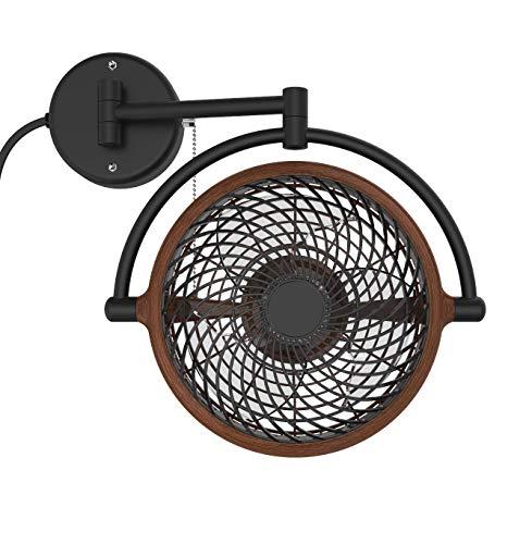VIVI- 8 in. Wall Mount Swivel Fan with Folding Arm (Walnut)