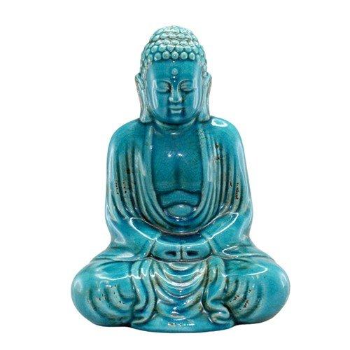 World Buyers DHYANA Buddha Turquoise Ceramic 8.25x5.5x11.5 h