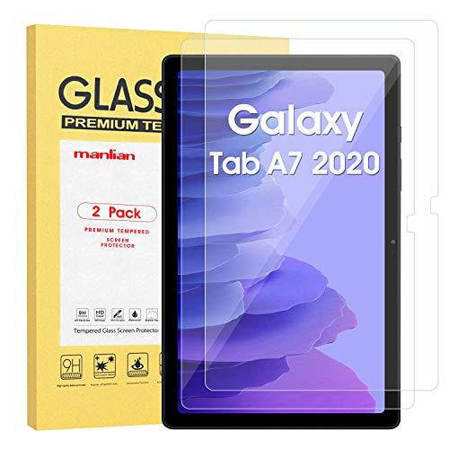 Manlian [2 Stück] Panzerglas Schutzfolie kompatibel mit Galaxy Tab A7 2020 (Modell: SM-T500/T505). Premium Tempered Glass Displayschutzfolie.