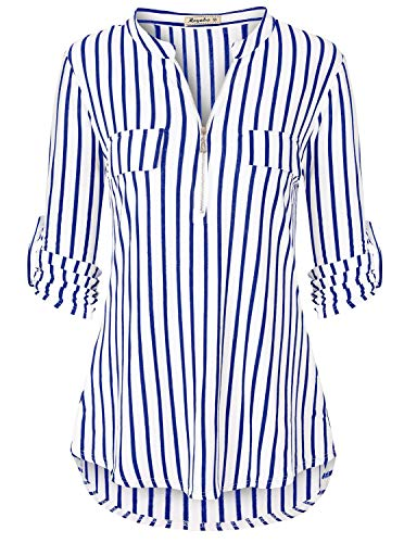 Plaid Tunic,Ladies Henley V Neck Cuffed Sleeve Tops to Wear with Leggings Royal Blue Stripe XX-Large