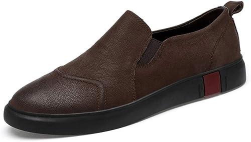 TONGDAUR Herren Penny Slipper Mokassin Driving Schuhe Slip On Flats Echtes Leder Schuhe Mode Slipper Lederschuhe für Herren (Farbe   Braun, Größe   45 EU)