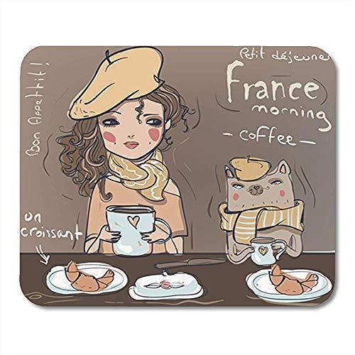 Mauspad Chef Nettes Mädchen Mit Katze Essen Frühstück Kaffee Trinken Frankreich Dekor Rutschfeste Büro Gummiunterlage Mousepad Mauspad Gaming Mouse Pad 25X30 Cm
