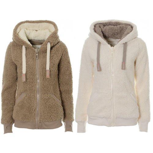 Ladies Womens Soft Teddy Fleece Hooded Jumper Hoody Jacket Coat Cream Taupe (CDK008-G-XL)