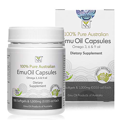 Y-Not Natural - 100% Pure Emu Oil Capsules 1000mg (100 Caps) | Pharmaceutical Grade Dietary Supplement for Heart Health, Joint Support, Metabolism & Hair Growth | Omegas 3, 6 & 9 with Vitamin K2 & CLA