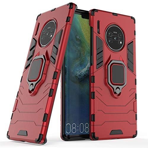 Compatible con Huawei Mate 30 Pro, Huawei Mate30 Pro 5G Funda, Anillo Metálico Sujeción Soporte Antichoque Caja (Funciona con el Montaje de Coche Magnético) Doble Capa Case Carcasa (Rojo)