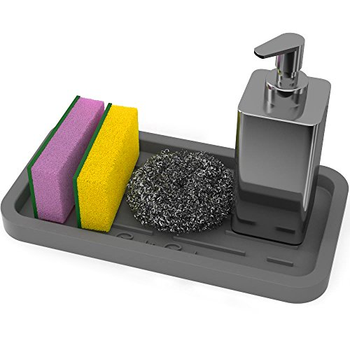 GOOD TO GOOD Silicone Sponge Holder - Kitchen Sink Organizer Tray for Sponges, Soap Dispenser, Scrubber and Other Dishwashing Accessories - Gray