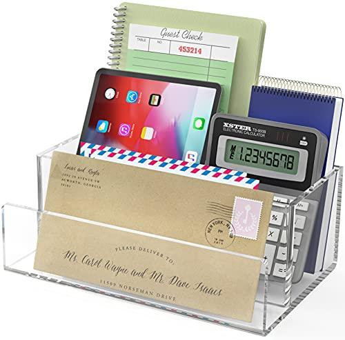 Ktrio Acrylic Mail Organizer Countertop Mail Holder, File Holder Folder, Letter/Envelope/File/Paper/Folder/Bill/Stationary Organizer for Home & Office