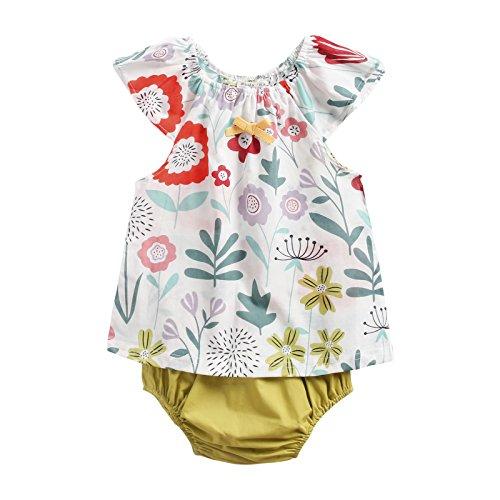 Sanlutoz Algodón Impreso Bebé Chicas Ropa Verano Recién Nacido Bebé Conjunto de Ropa Casual (12-18 Meses, BCS8040)