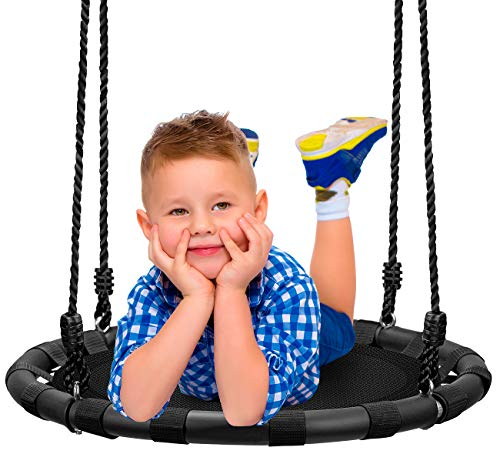 Sorbus Spinner Swing – Kids Round Mat Swing – Great for Tree, Swing Set, Backyard, Playground, Playroom – Accessories Included [New Improved 2021 Design!] (24' Mat Seat)