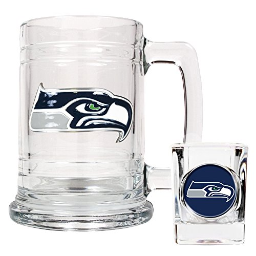 Seattle Seahawks NFL 2pc Rocks Glass Set - Helmet logo