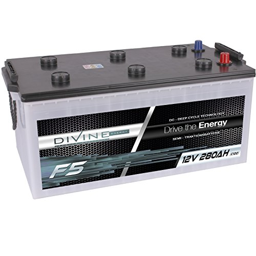 Divine 12V 280Ah Solarbatterie Mover Versorgungsbatterie Wohnmobil Boot Marine Camping Batterie Wartungsfrei