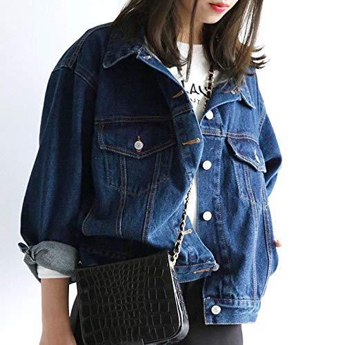 NZJK Herfst Dames Denim Blauw Jean Bovenkleding Vintage Lange Mouw Streetwear Vrouwen Mode Retro Jean Jas