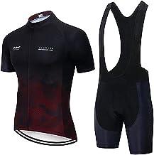 Moxilyn Fietskleding voor heren, shirt met korte mouwen en shorts, 9D-gelkussen, modieuze fietsset, fietsen, jersey voor h...