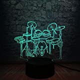 3D Luz de Noche Instrumento Musical Jazz Batería Set 3D Led Luz de Noche Luminaria Multicolor Gradiente Lámpara Lampara Música Fans Regalo Niño
