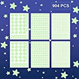 904Pcs Glow in The Dark Stars Wall Stickers, Realistic Glowing Stars for Ceiling