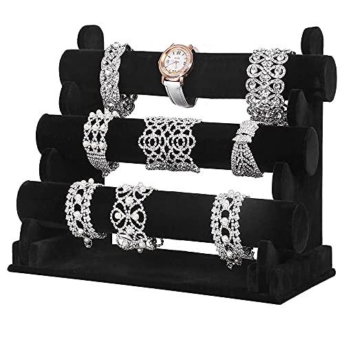 WANTOUTH Expositor Pulseras Terciopelo de 3 Niveles Organizador de Pulseras Negro Soporte Relojes Pulsera con Barras Desmontables Exibidor para Joyas Soporte de Exhibición de Pulsera para Hogar Tienda