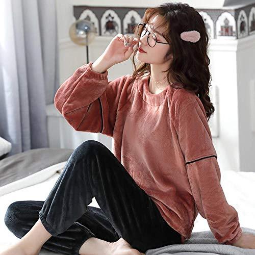 Empty Frauen Winter Flanell Pyjamas Sets Dick Warm Plus Size Nachtwäsche Langarm Kleidung Home Wear kann außerhalb getragen Werden -L_50-60KG