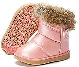 Bottines Bébé Fille Bottes d'Hiver Chaude Fourrée Bottines de Neige Chaussures pour Antidérapant Sole Souple Botte Boots Pink 23EU/ 24CN