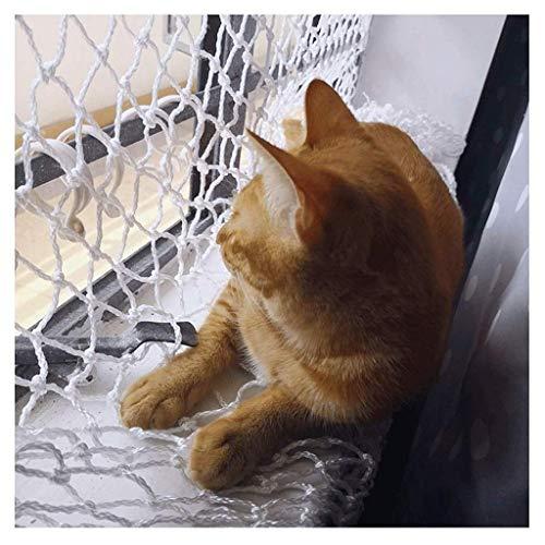 Anquanwang balkon-valbeschermingsnet, kattennet voor balkon en ramen, wit veiligheidsnet, stabiel veiligheidsnet, kinderbeschermingsnet, 4 mm/3 cm balkonnetten voor katten