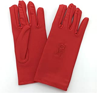 SHENTIANWEI Women's UV Protection Gloves Short Outdoor Driving Embroidered High Elastic Etiquette Gloves (Color : Red, Size : One size-Five pairs)