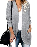 ZESICA Women's Long Sleeve Waffle Knit Cardigan Open Front Draped Sweater Outerwear with Pockets Grey
