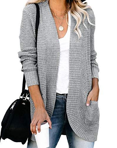 ZESICA Women's Long Sleeve Open Front Casual Lightweight Soft Knit Cardigan Sweater Outerwear,Grey,Large