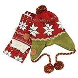 YJZQ Bonnet Péruvien Enfant Snood bébé 2 Lots Bonnet et Echarpe Ensemble Capuche Protection des oreillers Echarpe et Bonnet d'enfant Cadeau de Noël Chapeau Unisexe Tricoté pour Automne et Hiver