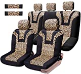 COOLBEBE Car Seat Covers - Leopard Pattern Integrated Auto Seat Cover Car Protector Interior Accessories, Airbag Compatible, Universal Fits for Cars, SUV, Truck, Full Set