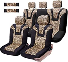 COOLBEBE Leopard Car Seat Covers - Cheetah Pattern Integrated Auto Seat Cover Car Protector Interior Accessories, Airbag Compatible, Universal Fits for Cars, SUV, Truck, Full Set