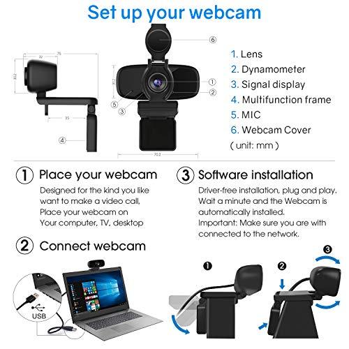 LarmTek Web CAM para PC,Cámara USB con Cubierta para Cámara Web,Cámara de Computadora Portátil para Conferencias,Cámara Web Pro Stream con Plug & Play miniatura