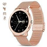 GOKOO Smartwatch Mujer Reloj Inteligente Elegante Dorado Reloj de Fitness IP67 Impermeable Reloj Inteligente Deportivo Pulsómetros Presión Arterial Calorías Compatible con Android iOS