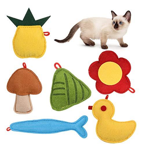 metagio Juguete con hierba gatera, cojín de hierba gatera, juego de juguetes para gatos interactivos para masticar hierba gatera, cojín para gatos con menta seca (6 unidades)