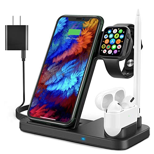 4 in 1 Wireless Charger, Apple Watch Charger 15W Foldable Fast Portable Wireless Charging Station for Apple Products, iPhone 11/11 Pro Max/XR/XS/X/, iWatch 6/5/4/3/2/1. Airpods 1/2/Pro & Pencil 1