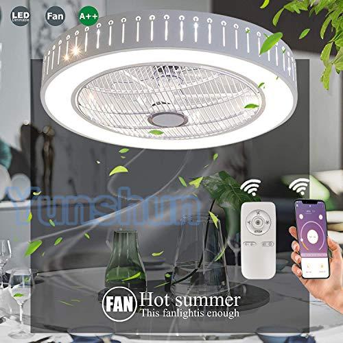 LED Deckenventilator Mit Beleuchtung 36W Deckenleuchte Dimmbare Mit Fernbedienung 3-Gang Einstellbare Windgeschwindigkeit Modern Schlafzimmer 55CM Unsichtbare Leise Ventilator Kinderzimmer