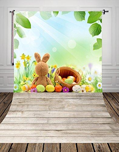 Fondo para fotografía de Pascua de 1,5 x 2,1 m, fondo blanco de madera, fondo verde para estudio fotográfico D-9948 (Reino Unido)
