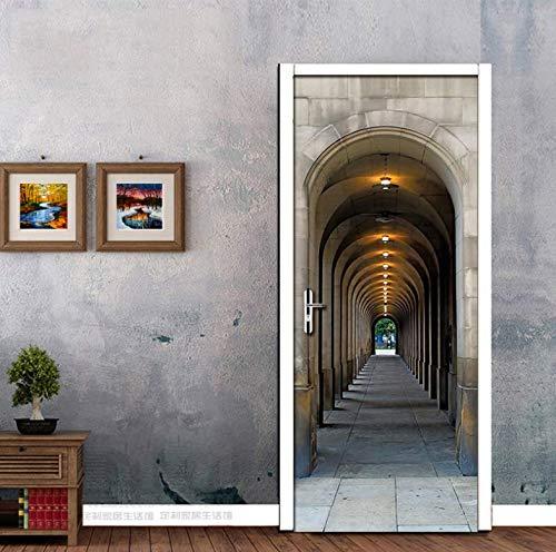 Glass Stickers,Expansión Espacial 3D Etiqueta De La Puerta De Pared Arco Foto Mural Papel Tapiz Dormitorio Sala De Estudio Pegatinas De Puerta Decoración Para El Hogar 77x200cm