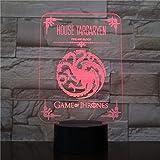Lámpara de ilusión 3D Luz de noche LED Casa Targaryen Logo Sensor táctil 7 Cambio de color Niño Niños Sangre y fuego Juego de tronos Lámpara de escritorio