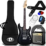 "Electric Guitar and Amp Kit - 39.4"" Full Size Electric Guitar Humbucker Pickups Bundle Beginner Starter Package w/ Amplifier, Case, Strap, Tuner, Pick, Strings, Cable, Tremolo - Pyle PEGKT99BK(Black)"