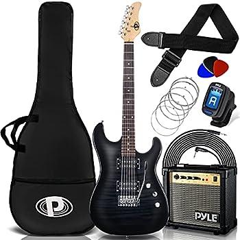 Pyle Electric Guitar and Amp Kit - Full Size Instrument w/ Humbucker Pickups Bundle Beginner Starter Package Includes Amplifier Case Strap Tuner Pick Strings Cable Tremolo - PEGKT99BK  Black