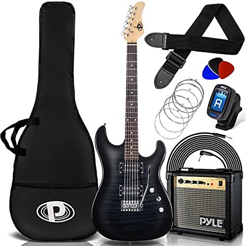 Pyle Electric Guitar and Amp Kit - Full Size Instrument w/ Humbucker Pickups Bundle Beginner Starter Package Includes Amplifier, Case, Strap, Tuner, Pick, Strings, Cable, Tremolo - PEGKT99BK (Black)