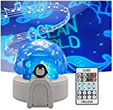 Aurora Igloo Projection Lamp for Kids Gift, 360° Rotation Starry Galaxy Night Light with 12 Films Projection/8 Songs/Bluetooth Speaker/Remote Control/LED Timer Home Room Dimming Table Lamp (Penguin)