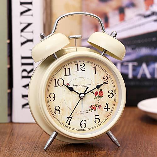 SJQ Despertador Junto a la Cama Estudiante Silencio Luz Nocturna Creativa Dormitorio Simple Moda Infantil Multifuncional pequeño Reloj Despertador, Big Rattan/Rice Yellow