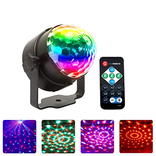 Remote control LED small magic ball Sound control mini crystal magic ball RGB colorful lights disco stage lights KTV bar, suitable for children's birthday, family party, Christmas party