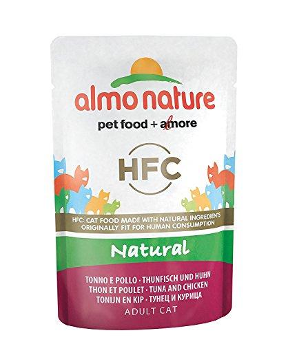 Almo Nature HFC Cibo per gatti, tonno e pollo naturale, Confezione da 24