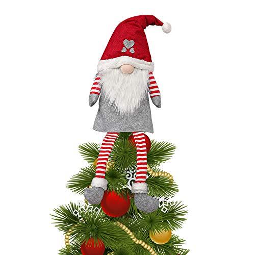 Christmas Santa Claus Tree Topper, Swedish Santa Large Christmas Tree Topper Plush Gnomes Tree Topper for Xmas Tree Christmas Decorations