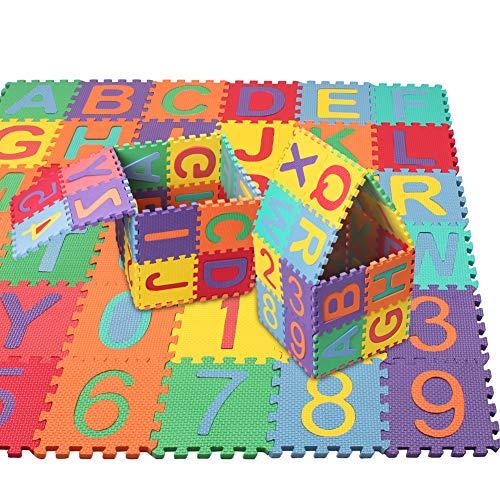 swonuk 36 pièces Puzzle Tapis Mousse Bébé Non Toxiques Alphabets & Chiffres Tapis de Puzzles pour Enfants 15*15cm/pcs