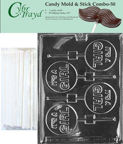 Cybrtrayd 45St50-B024 Het is een meisje Lolly Chocolade Snoep Mold met 50 Cybrtrayd 4.5 Lollipop Sticks